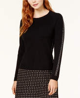 Bar III Mesh-Inset Studded Sweater, Created for Macy's