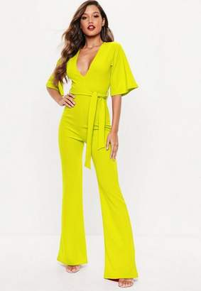 Missguided Neon Yellow Kimono Sleeve Flare Leg Romper
