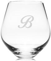 Lenox Tuscany Monogram Stemware, Set of 4 Script Letter Stemless Red Wine Glasses