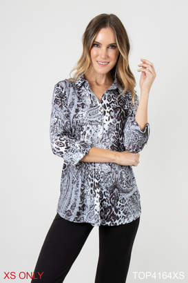 Simply Noelle Mixed Print Button Up