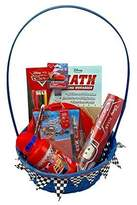 BASSKET.COM Disney Pixar Cars Gift Basket/Set For Baby Boys, (3-12 Years), 9 Piece Bundle Filled Basket Of Baby Boys Gift Items, Perfect Ideas For Birthdays, Easter, Christmas, Get Well, or Any Other Occasions!