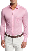 Kiton Piqué; Long-Sleeve Button-Front Shirt, Pink