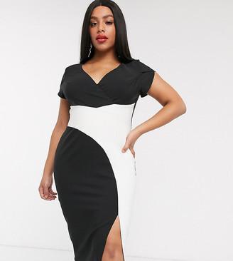 Paper Dolls Plus wrap midi dress with split in black and white