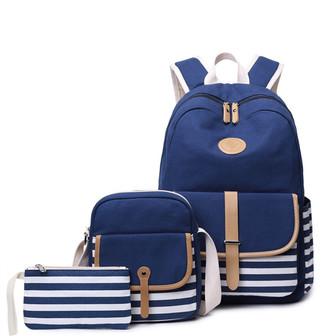Ella & Elly Women's Clutches Blue - Blue Stripe Backpack Set