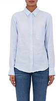 Barneys New York Women's Pinstriped Linen Shirt-LIGHT BLUE, WHITE, NO COLOR