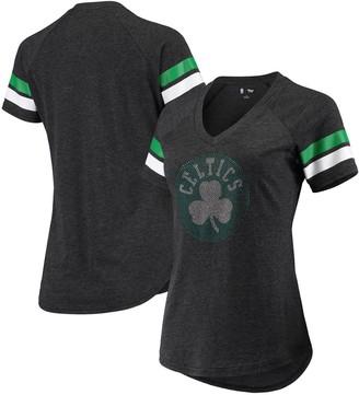 G Iii Women's G-III 4Her by Carl Banks Black Boston Celtics Triple Double Rhinestone Tri-Blend V-Neck T-Shirt