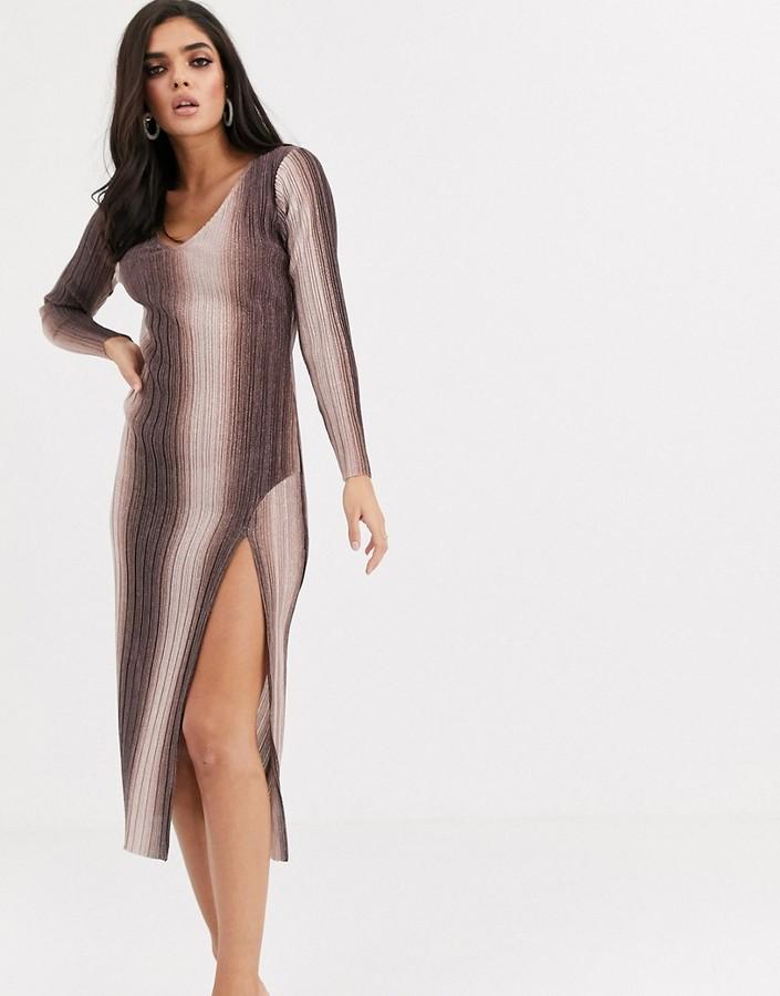 ASOS DESIGN long sleeve v-neck glitter ombre midi dress with thigh split