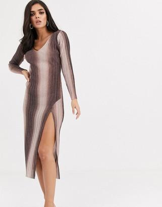 Asos Design DESIGN long sleeve v-neck glitter ombre midi dress with thigh split-Brown