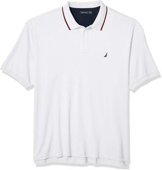 Nautica mens Classic Fit Short Sleeve Solid Tipped Collar Soft Polo Shirt