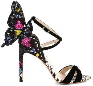 Sophia Webster Chiara Butterfly Embellished Satin & Suede Sandals