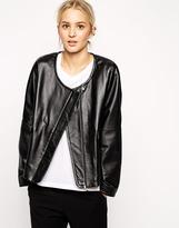 ASOS WHITE Collarless Leather Jacket