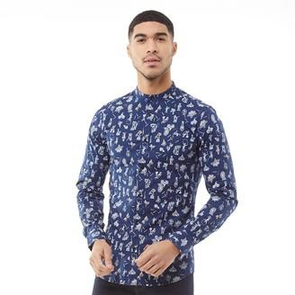 ONLY & SONS Mens Patric Mandarine AOP Long Sleeve Shirt Dress Blue