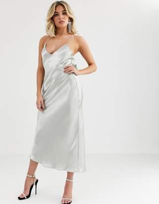 Vestire truth or dare satin slip midi dress-Silver