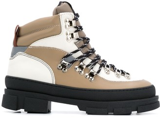 Ganni Lace-Up Panelled Boots