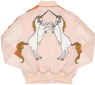 Burberry Unicorn Print Satin Bomber Jacket