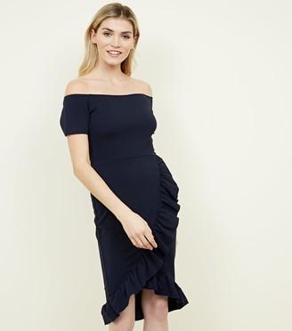 New Look AX Paris Frill Trim Bardot Neck Dress