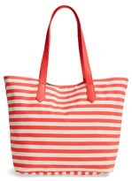 BP Faux Leather Trim Canvas Tote - Pink
