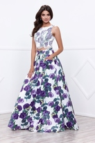 Nox Anabel - Two-Piece Crop top Purple Floral Print Long Gown 8316