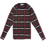 Lacoste Women's Crew Neck Graphic Check Cotton And Wool Jacquard Sweater