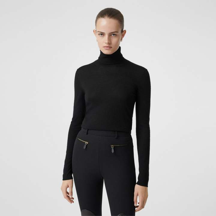Burberry Logo Embroidered Cashmere Silk Roll-neck Sweater