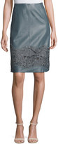 Lafayette 148 New York Tatiana Floral Lace Leather Skirt, Earl Gray