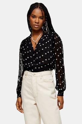 Topshop Womens Black And White Heart Flocked Shirt - Monochrome