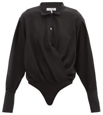 Frame Wrap Shirt Faille Bodysuit - Black