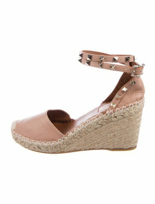 Valentino Rockstud Accents Leather Espadrilles Pink