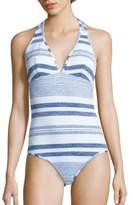 Shoshanna Striped Halter One-Piece Swimsuit