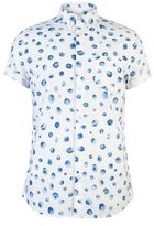 Burton Mens White And Blue Short Sleeve Spotted Shirt