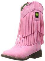 John Deere Chi Pink Fringe Brd SQ Toe Pull-On Boot