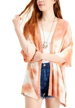 Ultra Flirt Juniors' Lace-Trimmed Tie-Dye Kimono