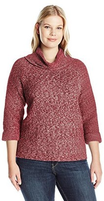 Leo & Nicole Women's Plus Size 3/4 Textured Cowl Pullover