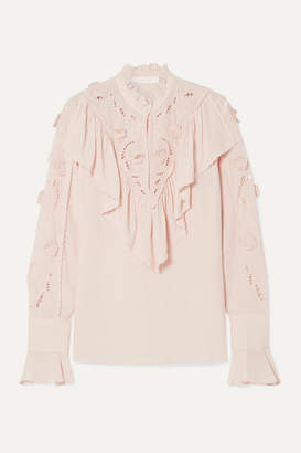 See by Chloe Ruffled Broderie Anglaise Crepe De Chine Blouse - Pastel pink