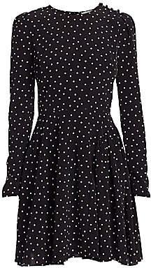 ML Monique Lhuillier Women's Polka Dot Long-Sleeve A-Line Dress