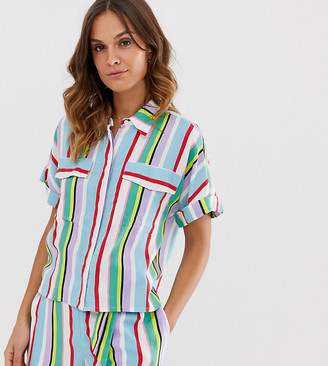 Monki co-ord short sleeve beach top in multi stripe