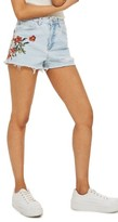 Topshop Petite Women's Embroidered Mom Shorts