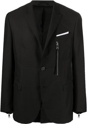 Neil Barrett Zip Embellishment Single-Breasted Blazer
