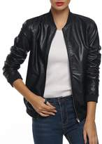 ACEVOG Women's Quilted Biker Bomber Zipper Faux Leather Moto Coat Jacket ( S)