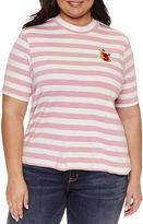 Boutique + + Short Sleeve Mock Neck T-Shirt-Plus
