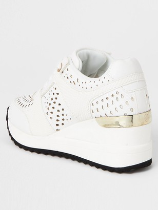 River Island Girls Lace Up Wedged Trainers -White