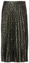 Banana Republic Animal Print Pleated Midi Skirt