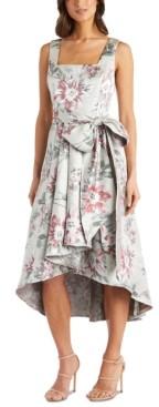 R & M Richards Petite Floral Jacquard High-Low Dress