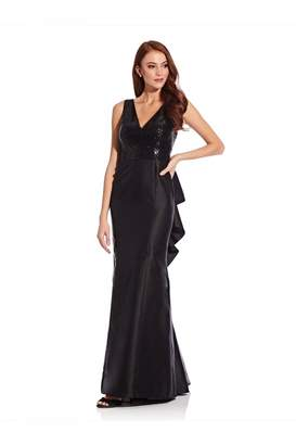 Adrianna Papell Sequin Mikado Gown In Black