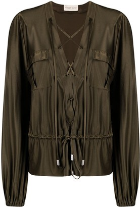 Alexandre Vauthier Lace-Up Satin Blouse
