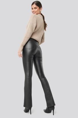 NA-KD Waxed Flared Pants Black