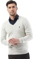 Polo Ralph Lauren Mens V-Neck Slim Fit Pima Cotton Jumper Light Grey