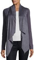 Bagatelle Faux-Suede Drape-Front Jacket, Slate