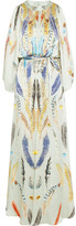 Temperley London Feather-print hammered-silk satin gown