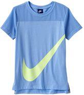 Nike Girls 7-16 Swoosh Mesh Yoke Tee